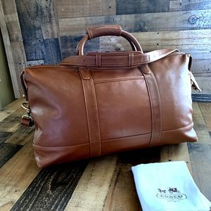 Coach Brown Leather Carryall  Travel Bag w/ Strap